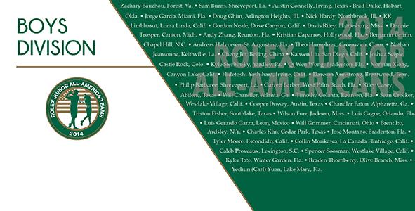 2014 Rolex Junior All-America Team Boys Division