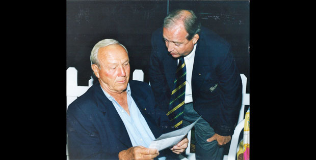 Arnold Palmer (left) and Jim Bell (right) worked closely together on the Arnold Palmer Invitational.