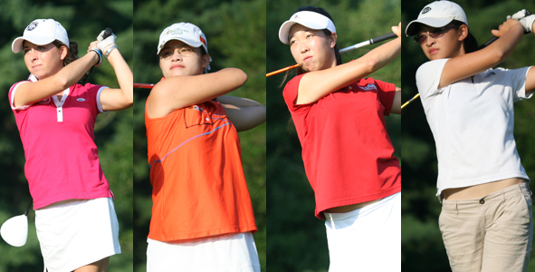 Four girls tied for lead after second round
