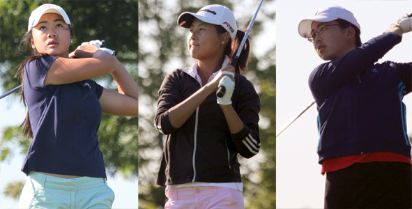 Three girls share first-round lead